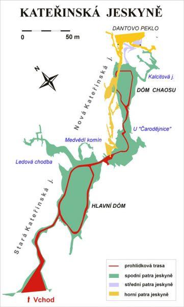 Kateřinská jeskyně - mapa