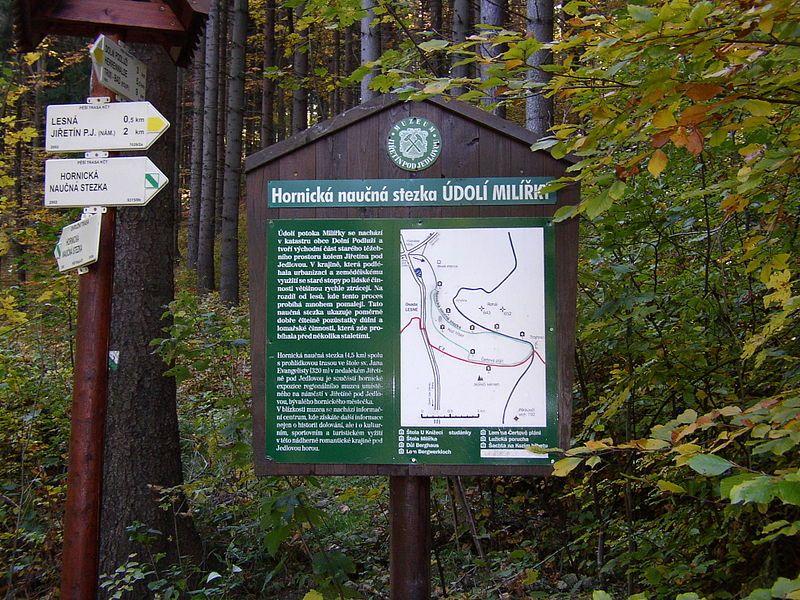 Hornická naučná stezka Údolí Milířky - úvodní panel