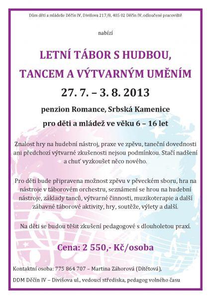 Letní tábor s hudbou, tancem a výtvarným uměním (Penzion Romance, Srbská Kamenice)
